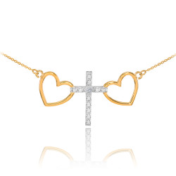 14K Two-Tone Gold Heart Cross Diamond Necklace