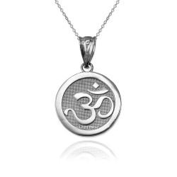 Sterling Silver Om Medallion Charm Necklace