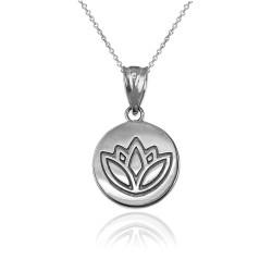 White Gold Lotus Medallion Charm Necklace