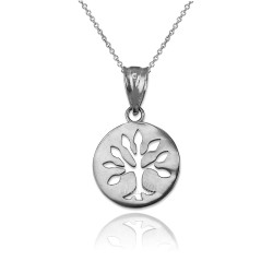 White Gold Tree of Life Medallion Charm Necklace