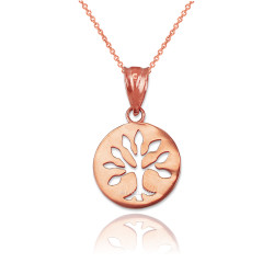 Rose Gold Tree of Life Medallion Charm Necklace