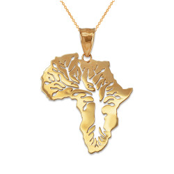 Yellow Gold Africa Tree of Life Pendant Necklace