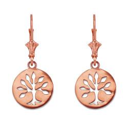 14K Rose Gold Tree of Life Leverback Earrings