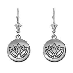 14K White Gold Lotus Leverback Earrings