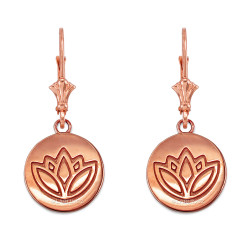 14K Rose Gold Lotus Leverback Earrings