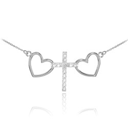 14K White Gold Heart Diamond Cross Necklace