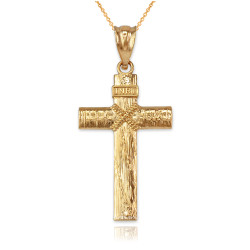Yellow Gold  Woodgrain Rope Cross Pendant Necklace