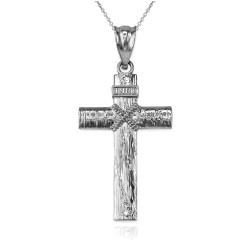 White Gold  Woodgrain Rope Cross Pendant Necklace