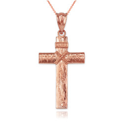 Rose Gold  Woodgrain Rope Cross Pendant Necklace