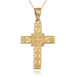 Yellow Gold  Floral Cross Pendant Necklace