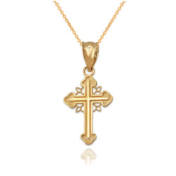 Yellow Gold Filigree Cross Charm Necklace