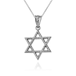 Sterling Silver Star of David Charm Necklace