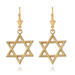 14K Yellow Gold Jewish Star of David Earrings