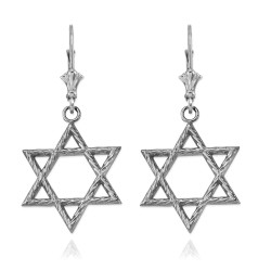 14K White Gold Jewish Star of David Earrings