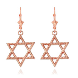 14K Rose Gold Jewish Star of David Earrings