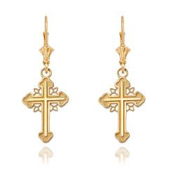 14K Yellow Gold Filigree Cross Earrings