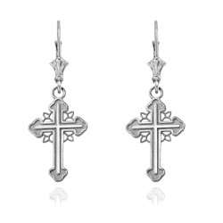 14K White Gold Filigree Cross Earrings