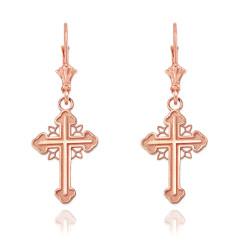 14K Rose Gold Filigree Cross Earrings