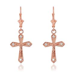 14K Rose Gold Diamond Crucifix Cross Earrings