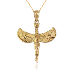 Yellow Gold Isis Egyptian Goddess Pendant Necklace