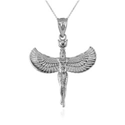 White Gold Isis Egyptian Goddess Pendant Necklace