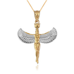 Two-Tone Gold Isis Egyptian Goddess Pendant Necklace