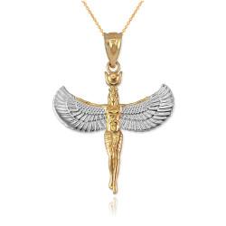 Two-Tone Gold Isis Egyptian Goddess Pendant Necklace