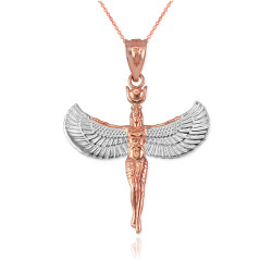 Two-Tone Rose Gold Isis Egyptian Goddess Pendant Necklace