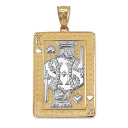 Two-tone Yellow Gold King of Spades Poker Card Pendant