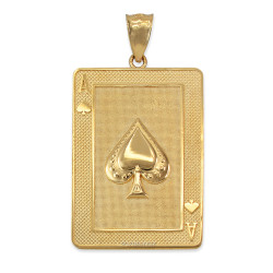 Yellow Gold Ace of Spades Poker Card Hip Hop Pendant