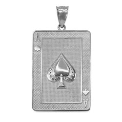 White Gold Ace of Spades Poker Card Hip Hop Pendant