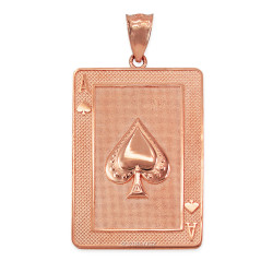 Rose Gold Ace of Spades Poker Card Hip Hop Pendant