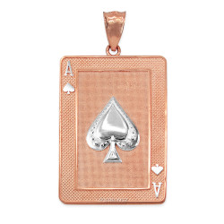 Two-tone Rose Gold Gold Ace of Spades Poker Card Pendant