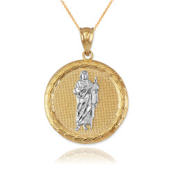 Two-Tone Gold Saint Jude Medallion Pendant Necklace