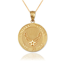 Yellow Gold US Air Force Medallion Pendant Necklace