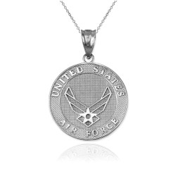 White Gold US Air Force Medallion Pendant Necklace