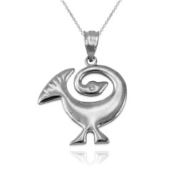 White Gold African Adinkra Sankofa Pendant Necklace