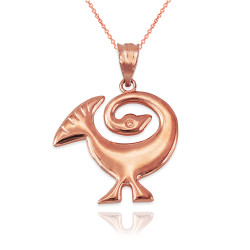 Rose Gold African Adinkra Sankofa Pendant Necklace