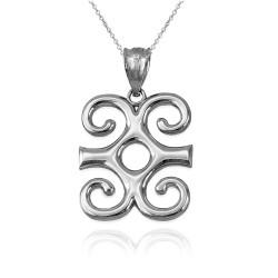 Sterling Silver Adinkra Dwennimmen African Pendant Necklace