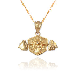 Yellow Gold Hand Weightlifting Dumbbell Pendant Necklace