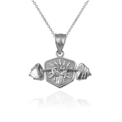 Sterling Silver Hand Weightlifting Dumbbell Pendant Necklace