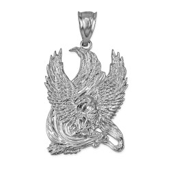 White Gold High Polished Eagle Pendant