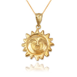 Yellow Gold Sun Face Celestial Pendant Necklace