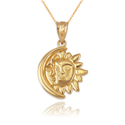 Yellow Gold Moon and Sun Face Celestial Pendant Necklace