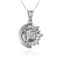 White Gold Moon and Sun Face Celestial Pendant Necklace