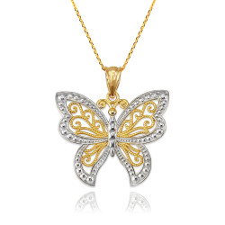 Gold Filigree Butterfly Midsize Pendant Necklace