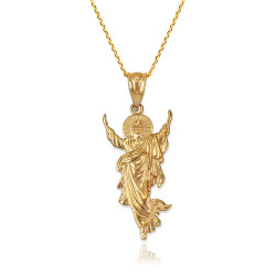 Resurrection of Jesus Christ Pendant Necklace in Yellow Gold
