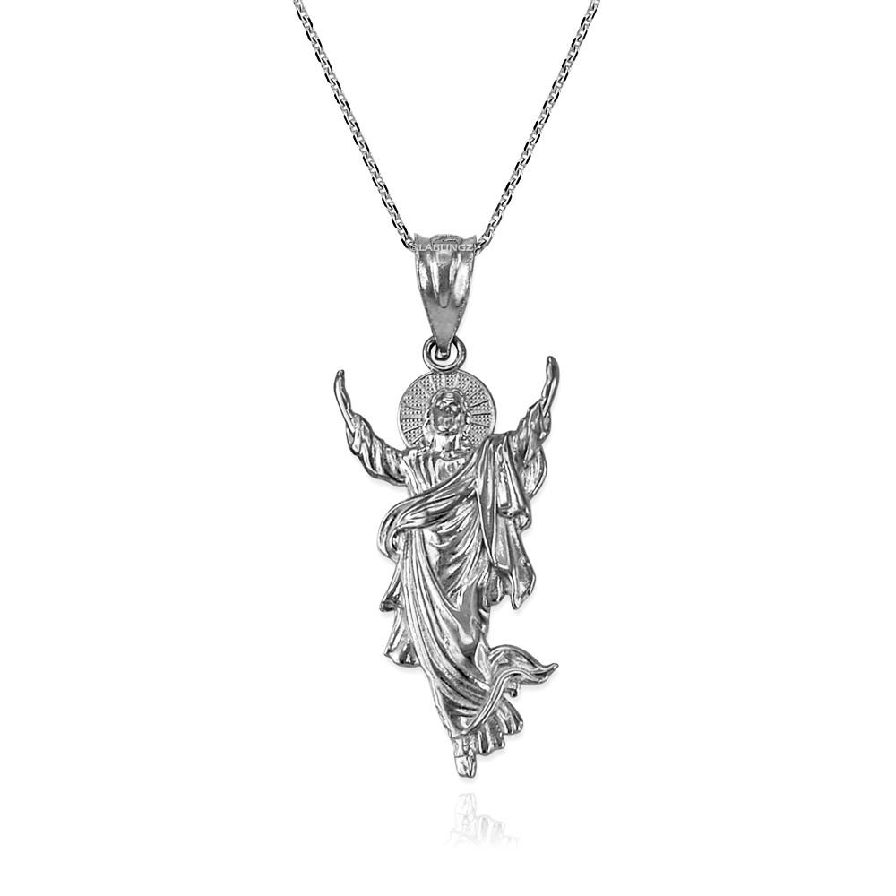 LA BLINGZ Sterling Silver Jesus Face DC Charm Necklace