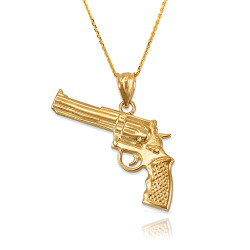 Revolver Pistol Gun Pendant Necklace in Yellow Gold