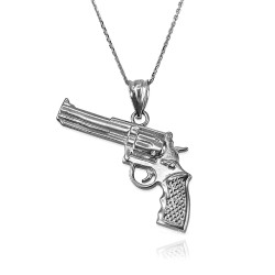 Revolver Pistol Gun Pendant Necklace in White Gold